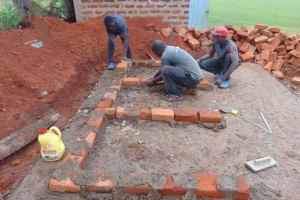 The Water Project: Demesi Primary School -  Latrine Foundation Underway