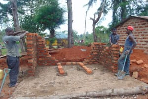 The Water Project: Demesi Primary School -  Latrine Walls Going Up