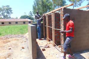 The Water Project: Nanganda Primary School -  Framing Latrines
