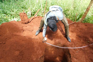 The Water Project: Emulembo Community, Gideon Spring -  Getting Accurate Measurements For Fiting The Sanitation Platform