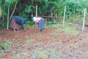 The Water Project: Masuveni Community, Masuveni Spring -  Women Planting Grass Inside The Spring Box