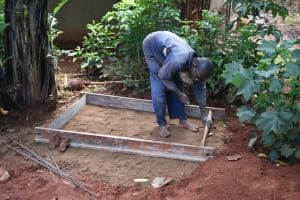 The Water Project: Emulembo Community, Gideon Spring -  Fitting The Sanitation Platform
