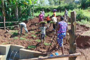 The Water Project: Munenga Community, Francis Were Spring -  Community Members Plant Grass Over The Springbox