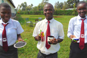 The Water Project: Ebulonga Mixed Secondary School -  Volunteers Display Toothbrushing Agents Charcoal Salt And Toothpaste