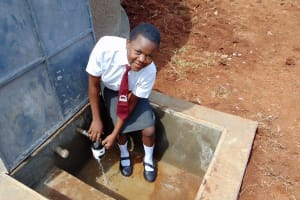 The Water Project: Ebulonga Mixed Secondary School -  Getting A Fresh Drink