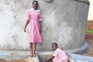 The Water Project: Kakamega Muslim Primary School -  Girls At The Rain Tank