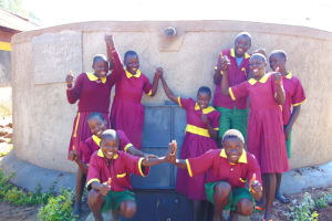 The Water Project: Nanganda Primary School -  Studens Celebrate The Rain Tank