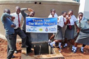 The Water Project: Ebulonga Mixed Secondary School -  Students Celebrate The Rain Tank