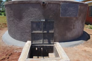 The Water Project: Demesi Primary School -  Completed Rain Tank With Water Flowing