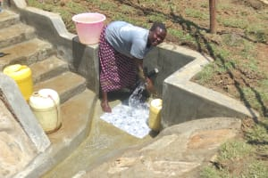 The Water Project: Sambaka Community, Sambaka Spring -  Enjoying The Spring Water