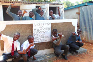 The Water Project: Ebulonga Mixed Secondary School -  Boys Pose With Their New Latrines