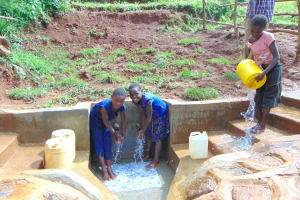 The Water Project: Munenga Community, Francis Were Spring -  Cleaning The Spring Stairs And Enjoying The Water