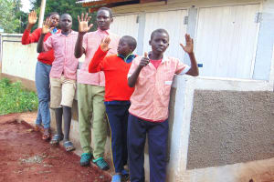 The Water Project: Kakamega Muslim Primary School -  Boys Pose In Front Of Their New Latrines