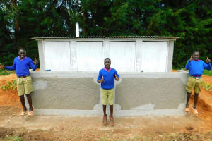 The Water Project: Kapkures Primary School -  Boys Pose With Their New Latrines