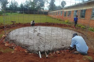 The Water Project: Demesi Primary School -  Rain Tank Foundation Takes Shape