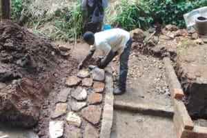 The Water Project: Masuveni Community, Masuveni Spring -  Early Rub Wall And Stair Construction