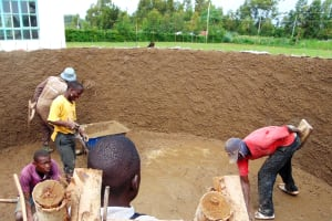 The Water Project: Ebulonga Mixed Secondary School -  Cementing The Walls Inside The Tank