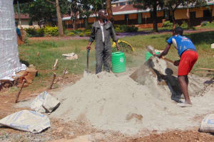 The Water Project: Kakamega Muslim Primary School -  Mixing Cement