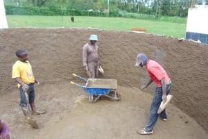 The Water Project: Ebulonga Mixed Secondary School -  Plastering Inside Rain Tank