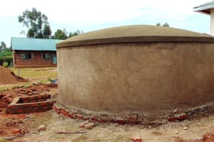 The Water Project: Ebulonga Mixed Secondary School -  Rain Tank Dome Freshly Cemented