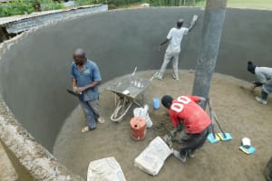 The Water Project: Shichinji Primary School -  Plastering Interior Of Tank