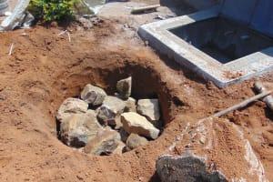 The Water Project: Nanganda Primary School -  Soak Pit Construction