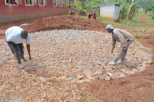 The Water Project: Ebukhuliti Primary School -  Preparing Rain Tank Foundation