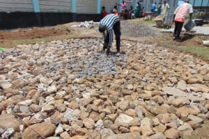 The Water Project: Ebukhayi Primary School -  Working On Rain Tank Foundation