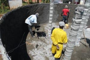The Water Project: Ebukhuliti Primary School -  Cement Pillars Underway