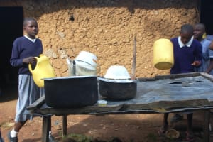 The Water Project: St. Martin's Primary School -  Dishrack Outside Kitchen