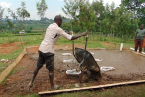 The Water Project: Kosiage Primary School -  Laying Latrine Foundation