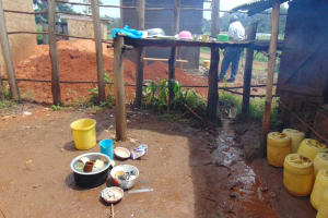 The Water Project: Saosi Primary School -  Dishrack Outside Kitchen