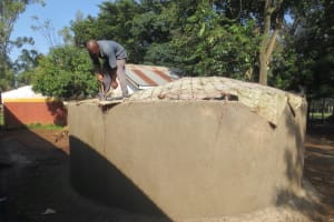 The Water Project: St. Joseph's Lusumu Primary School -  Fitting Dome Skeleton To Walls