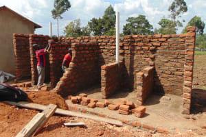 The Water Project: Ebukhayi Primary School -  Latrine Stalls Take Shape