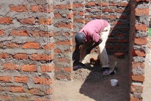 The Water Project: Banja Secondary School -  Working On Latrine Stalls