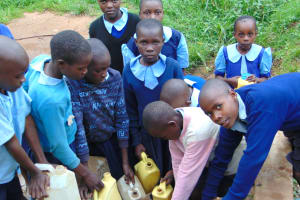 The Water Project: Kabinjari Primary School -  Students Crowd Fetching Water At The Spring