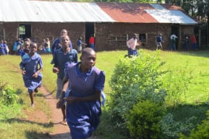 The Water Project: Mwikhupo Primary School -  Pupils Run To The Latrines