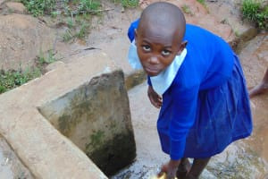The Water Project: Kabinjari Primary School -  Student Fetching Water At The Spring