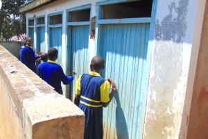 The Water Project: Jimarani Primary School -  Girls At Their Latrines
