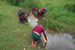The Water Project: Wavoka Primary School -  Studentss At The River Collecting Water