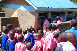 The Water Project: Gimengwa Primary School -  Boys Crowding To Use The Toilet