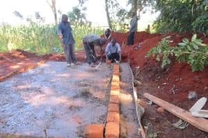 The Water Project: St. Joseph's Lusumu Primary School -  Latrine Brickwork Begins