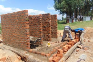 The Water Project: Mukama Primary School -  Walls Going Up Brick By Brick