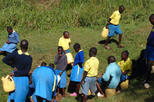 The Water Project: Gimomoi Primary School -  Students Fetch Water At The Spring