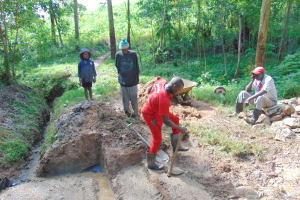 The Water Project: Kimarani Community, Kipsiro Spring -  Laying The Concrete Foundation