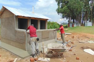 The Water Project: Mukama Primary School -  Latrine Block Nearing Completion