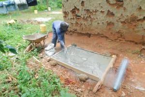 The Water Project: Shikhombero Community, Atondola Spring -  Sanitation Platform Construction
