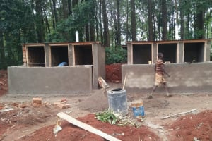 The Water Project: St. Joseph's Lusumu Primary School -  Cementing Brick Walls