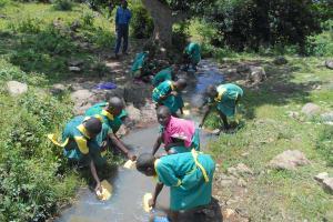 The Water Project: St. Peters Bwanga Primary School -  Students Fetching Water At The Stream