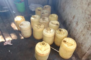The Water Project: Gimomoi Primary School -  Stored Water Inside Kitchen